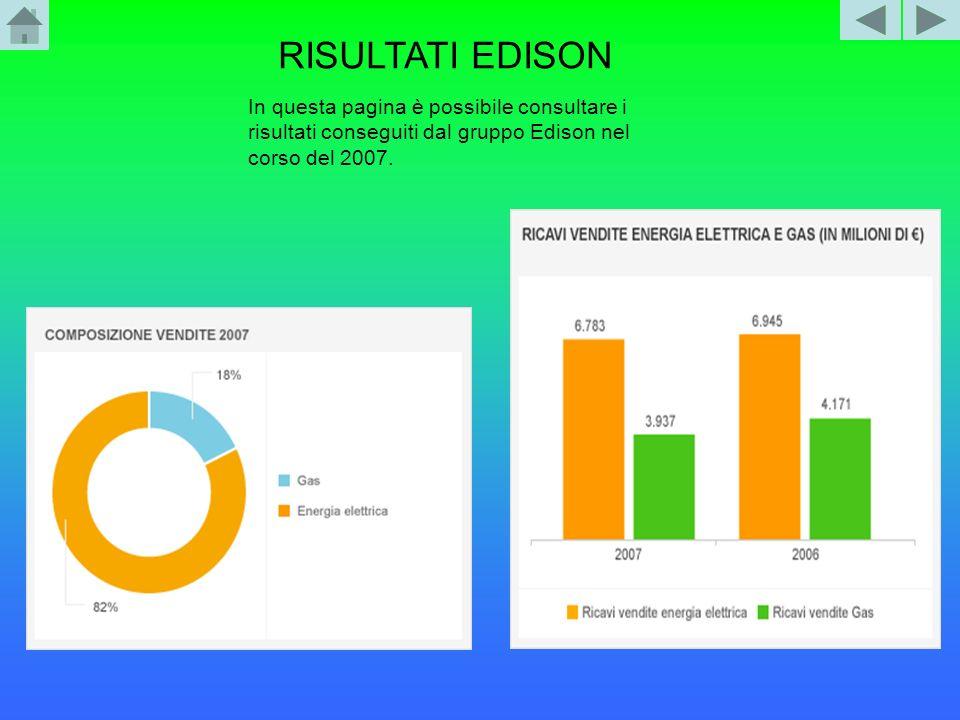RISULTATI EDISON In questa pagina è possibile consultare i risultati conseguiti dal gruppo Edison nel corso del 2007.