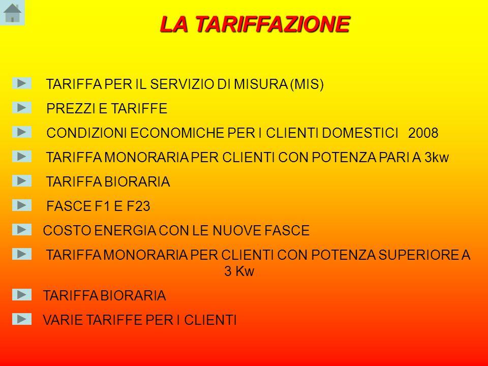 TARIFFA MONORARIA PER CLIENTI CON POTENZA SUPERIORE A 3 Kw