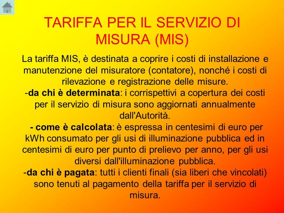TARIFFA PER IL SERVIZIO DI MISURA (MIS)