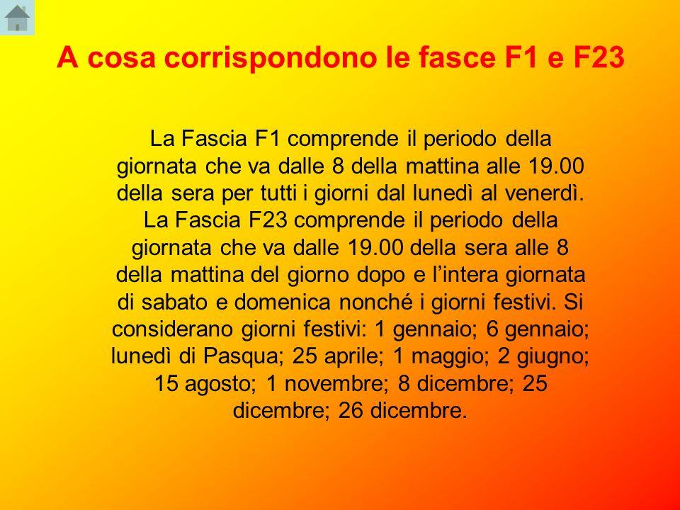 A cosa corrispondono le fasce F1 e F23