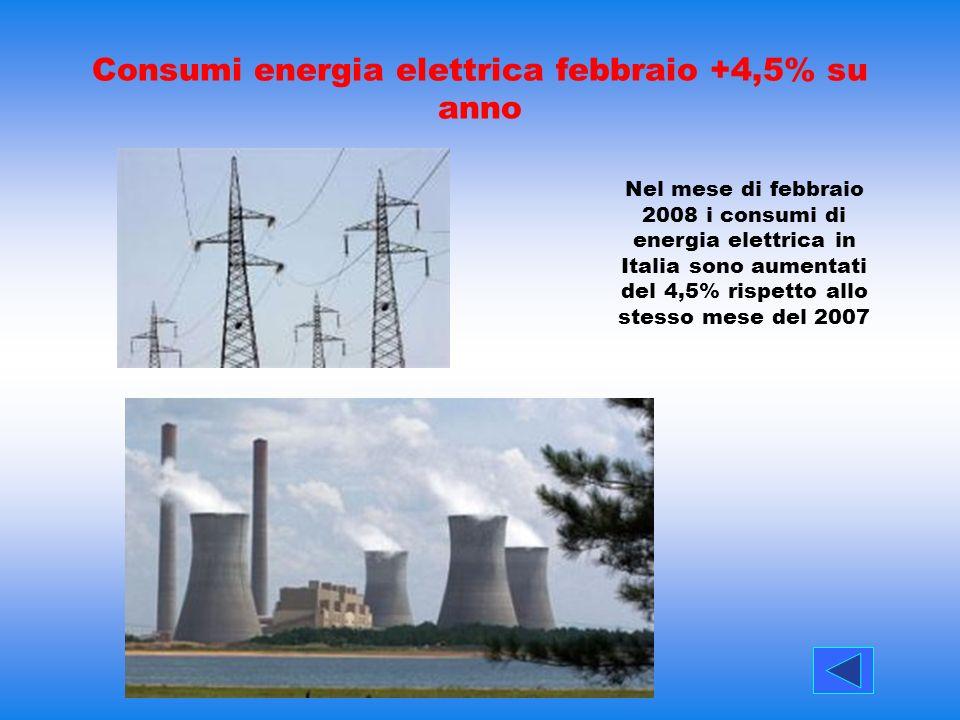 Consumi energia elettrica febbraio +4,5% su anno