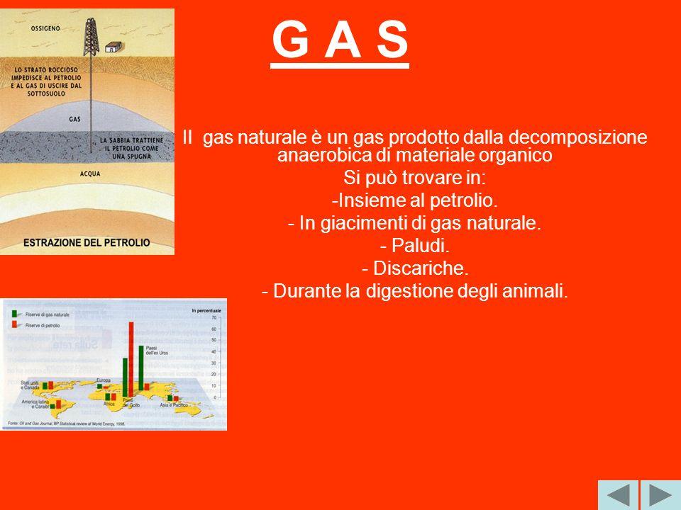 G A S Il gas naturale è un gas prodotto dalla decomposizione anaerobica di materiale organico. Si può trovare in: