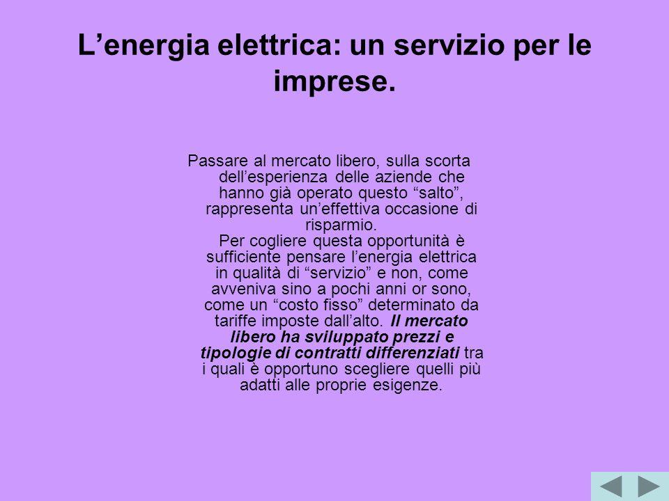 L'energia elettrica: un servizio per le imprese.