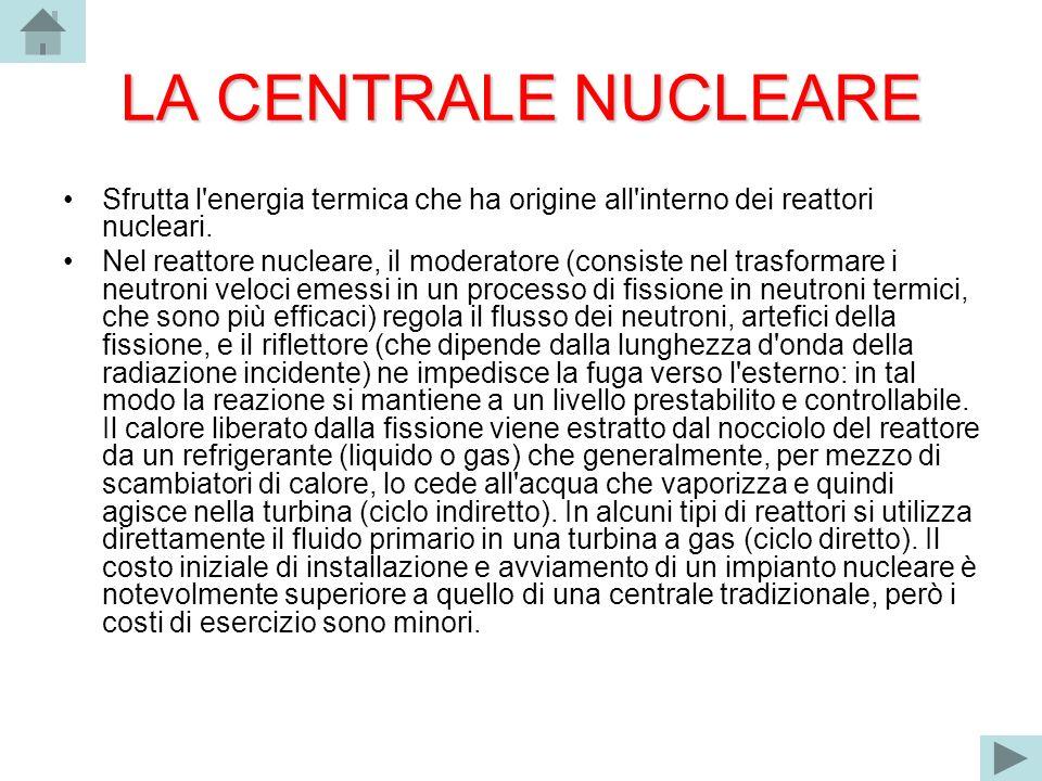 LA CENTRALE NUCLEARE Sfrutta l energia termica che ha origine all interno dei reattori nucleari.
