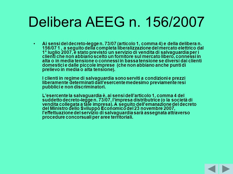 Delibera AEEG n. 156/2007