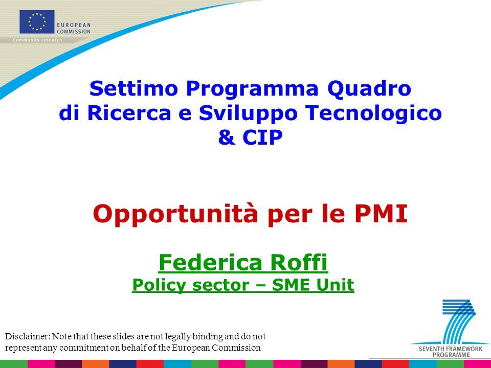 Opportunità per le PMI Federica Roffi Settimo Programma Quadro