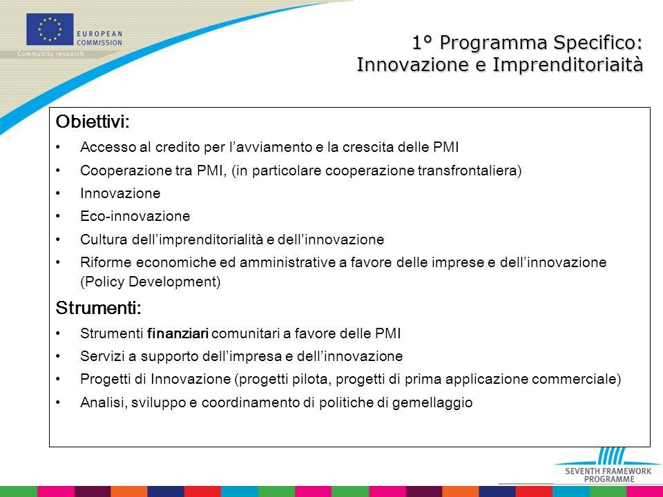 1° Programma Specifico: Innovazione e Imprenditoriaità