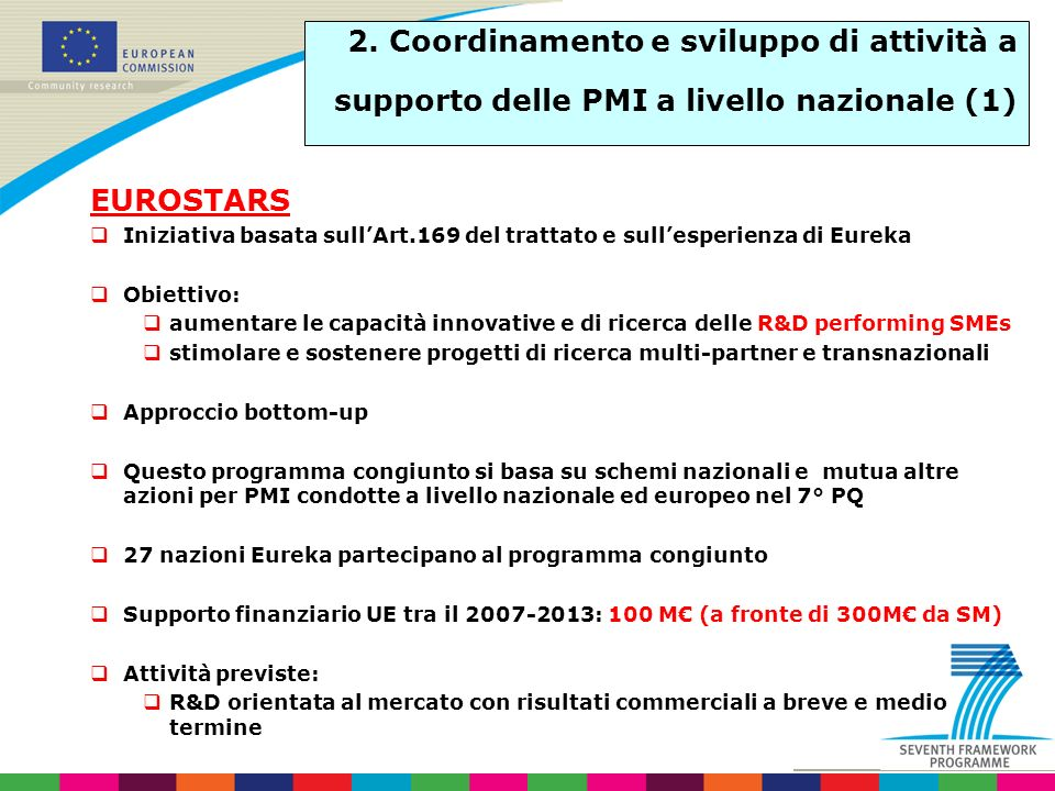 2. Coordinamento e sviluppo di attività a supporto delle PMI a livello nazionale (1)