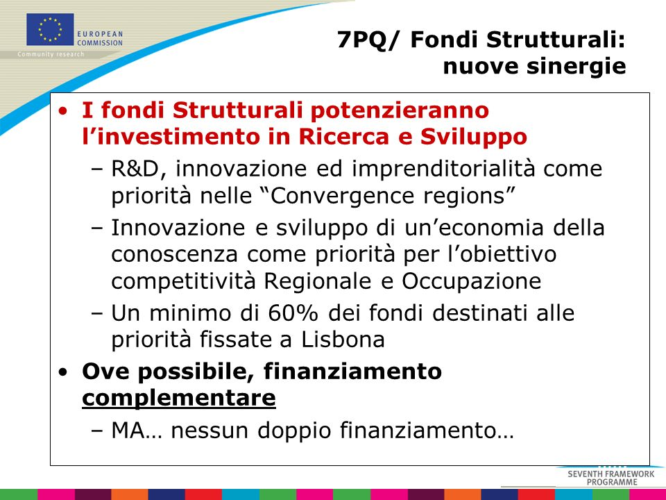 7PQ/ Fondi Strutturali: nuove sinergie