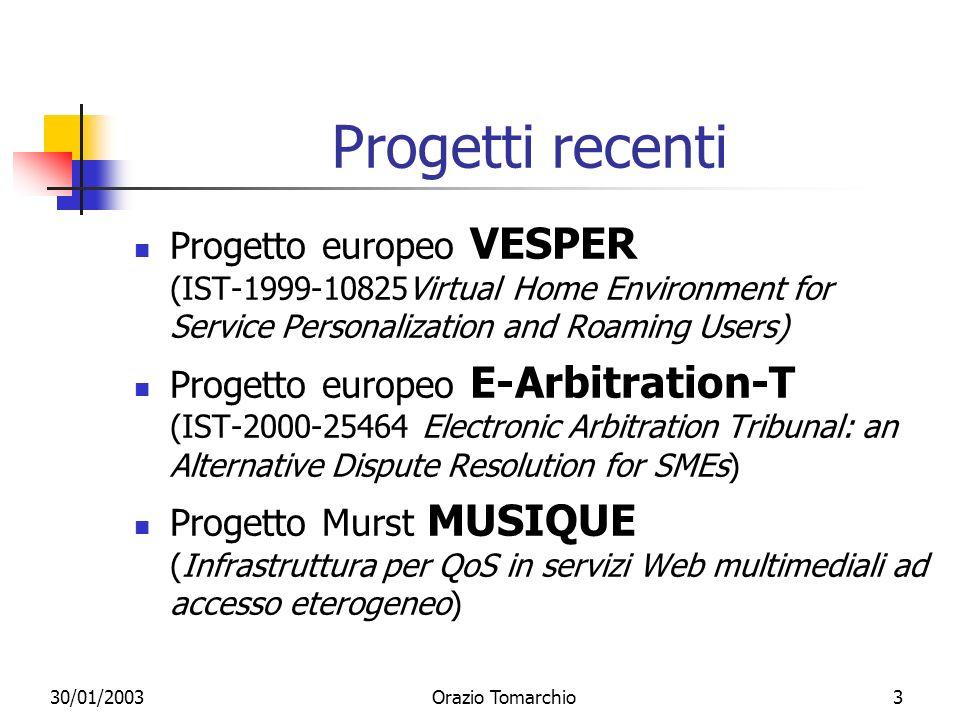 Progetti recentiProgetto europeo VESPER (IST-1999-10825Virtual Home Environment for Service Personalization and Roaming Users)