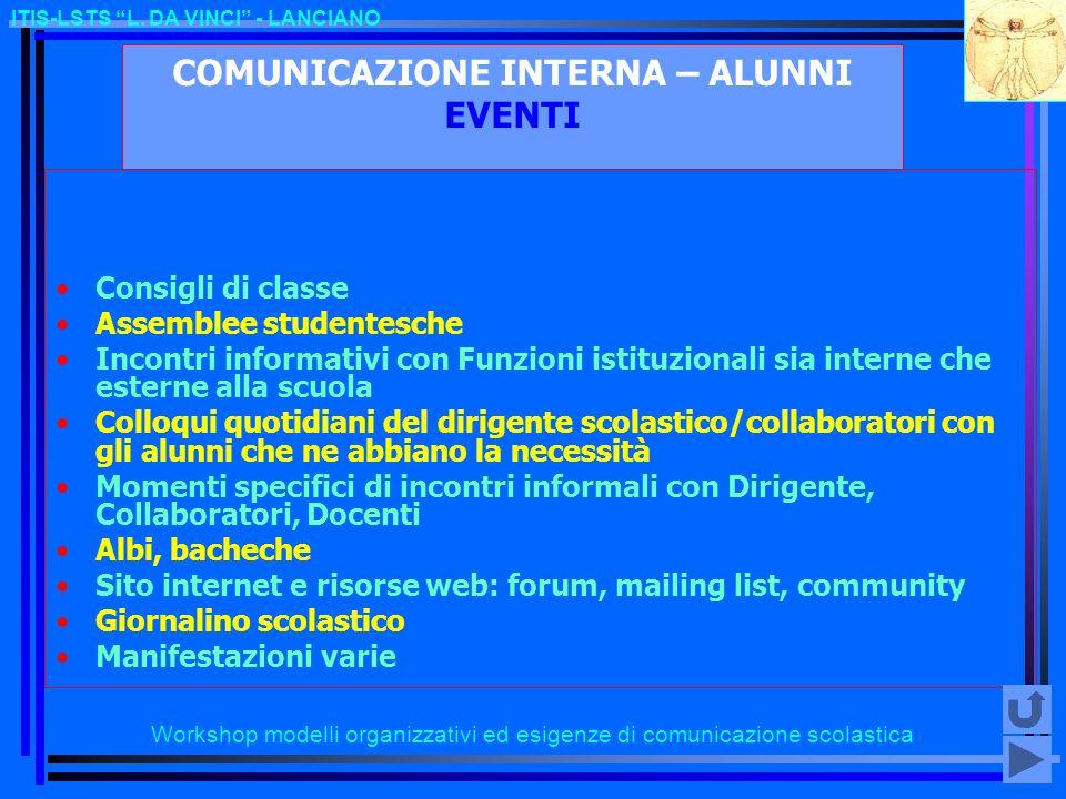 COMUNICAZIONE INTERNA – ALUNNI EVENTI