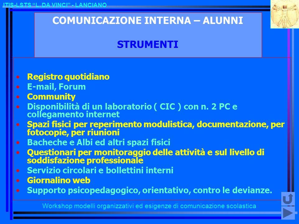 COMUNICAZIONE INTERNA – ALUNNI STRUMENTI