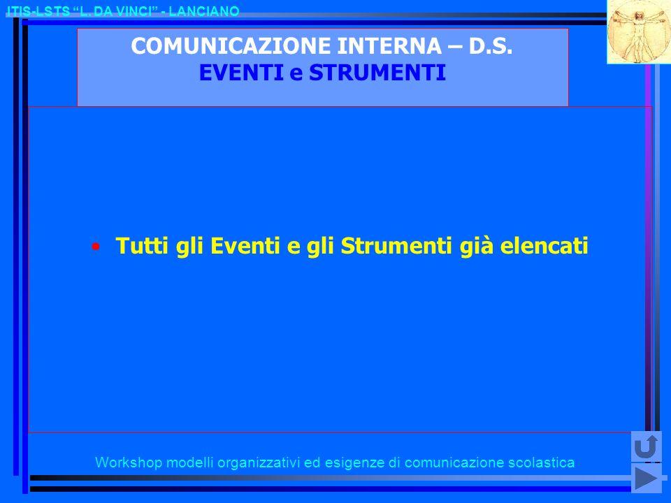 COMUNICAZIONE INTERNA – D.S. EVENTI e STRUMENTI