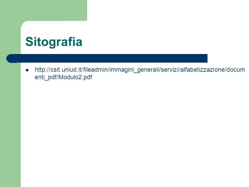 Sitografia http://csit.uniud.it/fileadmin/immagini_generali/servizi/alfabetizzazione/documenti_pdf/Modulo2.pdf.