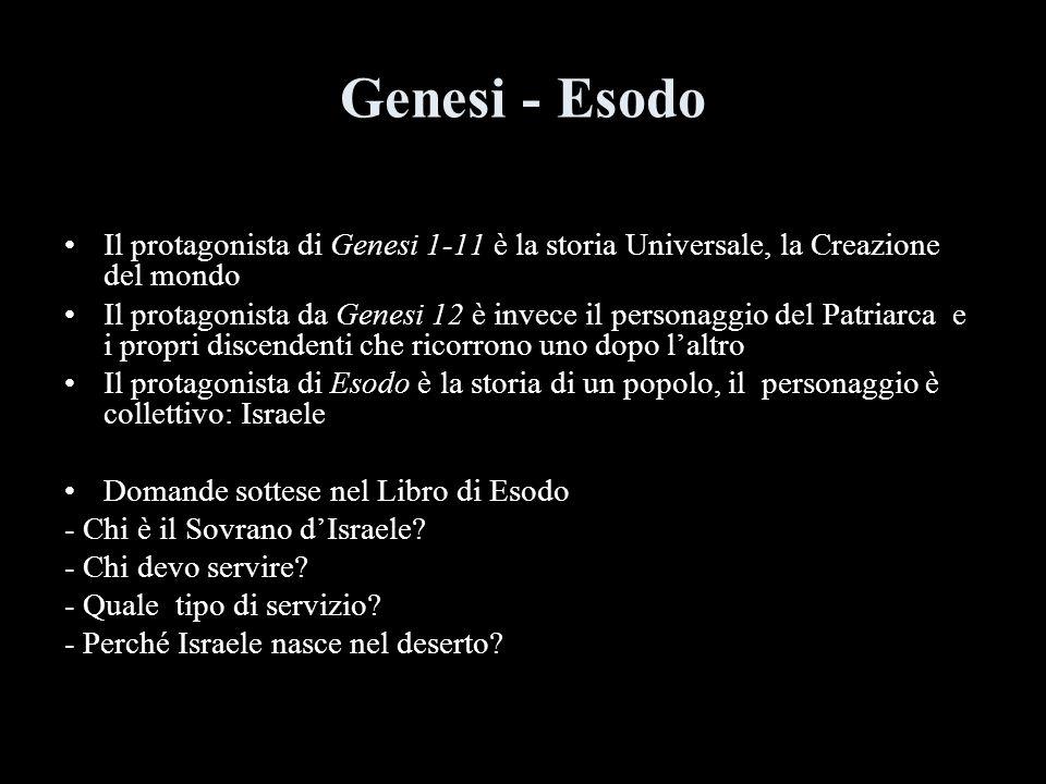 Genesi - Esodo Il protagonista di Genesi 1-11 è la storia Universale, la Creazione del mondo.