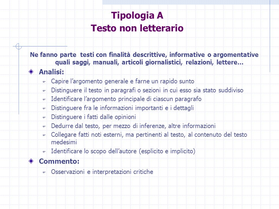 Tipologia A Testo non letterario
