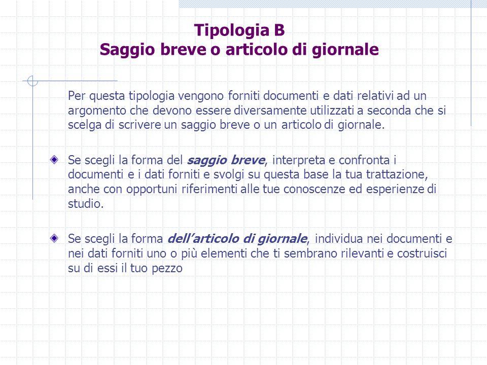 Tipologia B Saggio breve o articolo di giornale