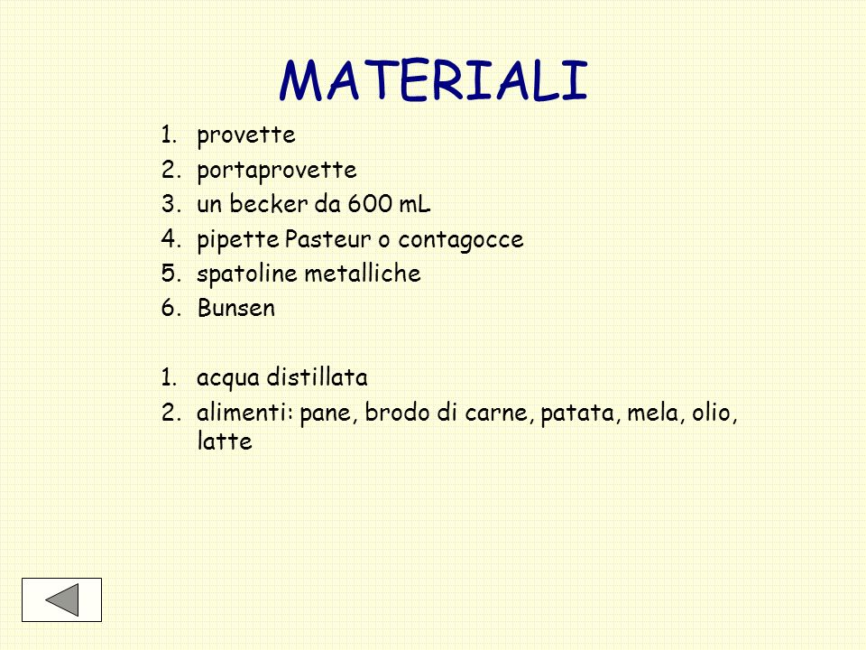 MATERIALI 1. provette 2. portaprovette 3. un becker da 600 mL