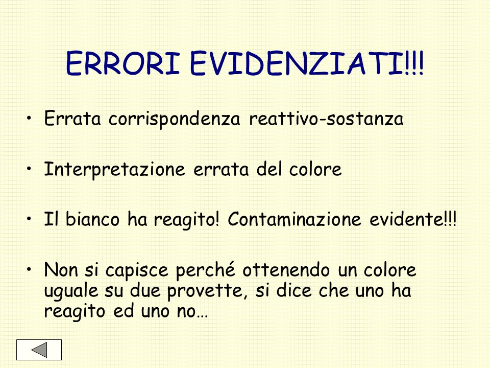 ERRORI EVIDENZIATI!!! Errata corrispondenza reattivo-sostanza