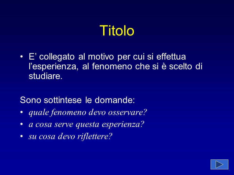 Titolo E' collegato al motivo per cui si effettua l'esperienza, al fenomeno che si è scelto di studiare.