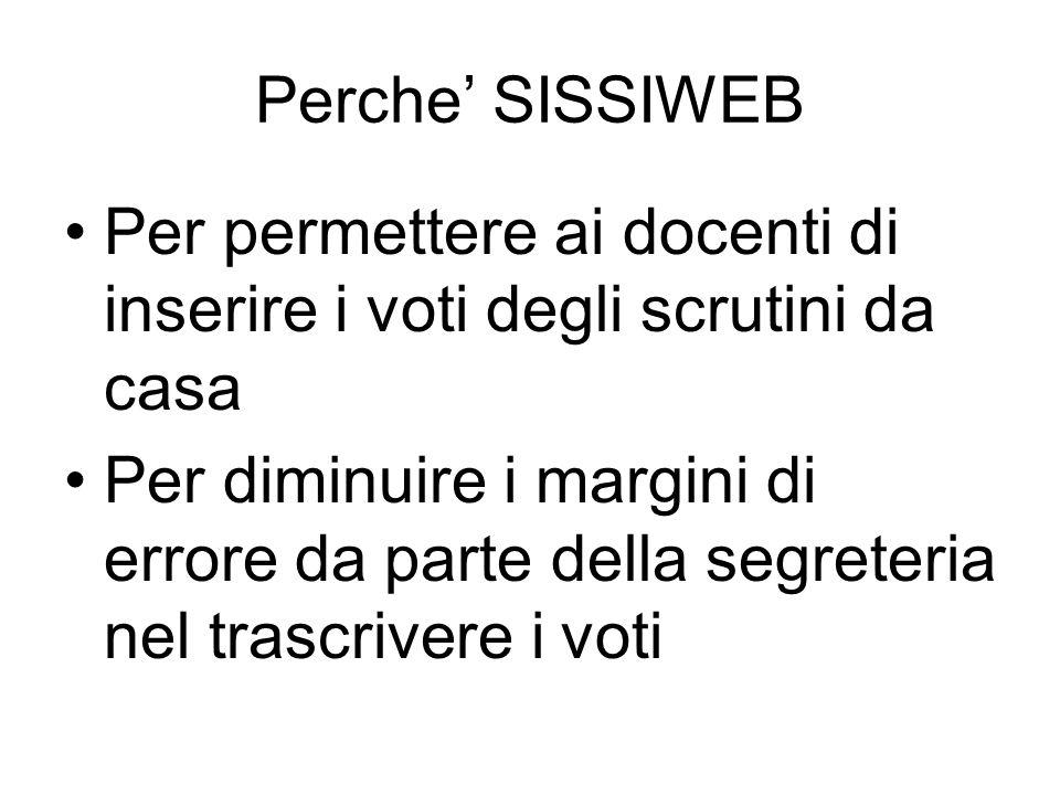 Perche' SISSIWEB Per permettere ai docenti di inserire i voti degli scrutini da casa.