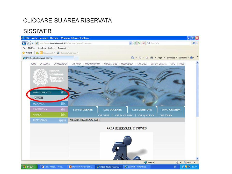 CLICCARE SU AREA RISERVATA