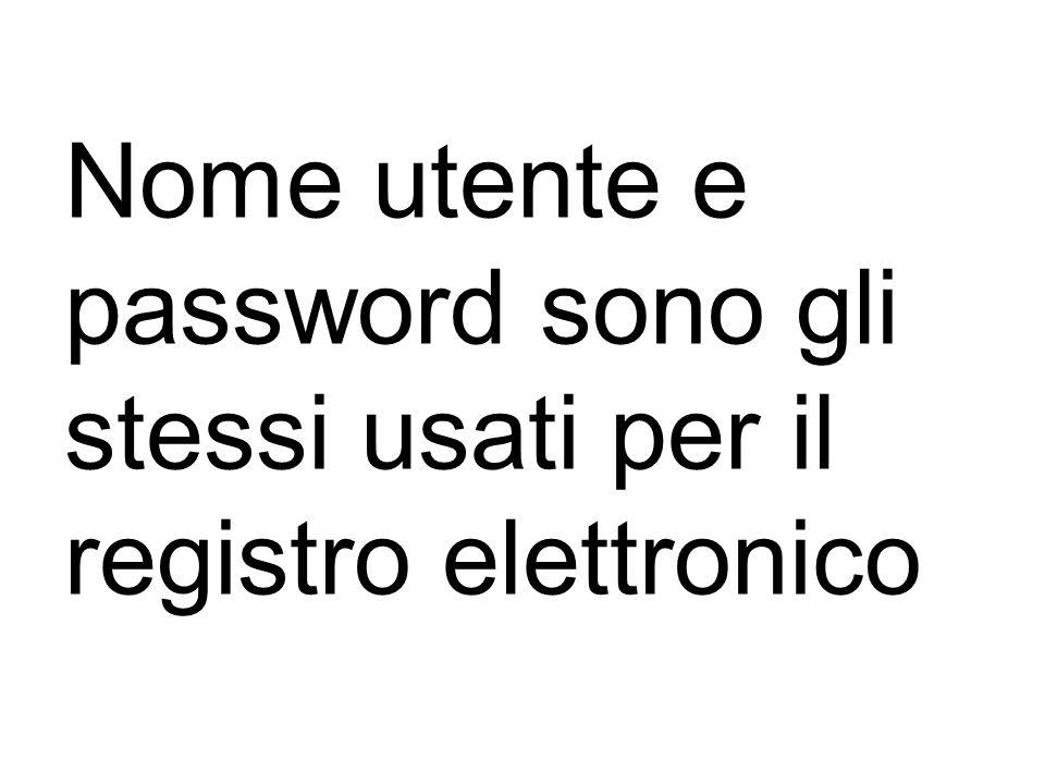 Nome utente e password sono gli stessi usati per il registro elettronico