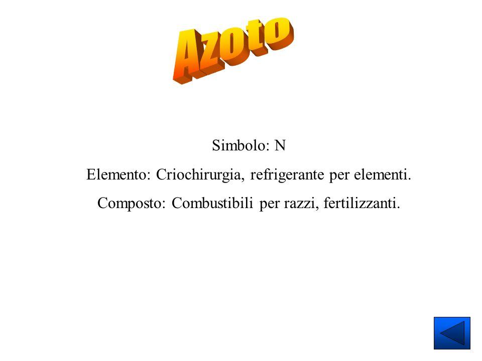Azoto Simbolo: N Elemento: Criochirurgia, refrigerante per elementi.