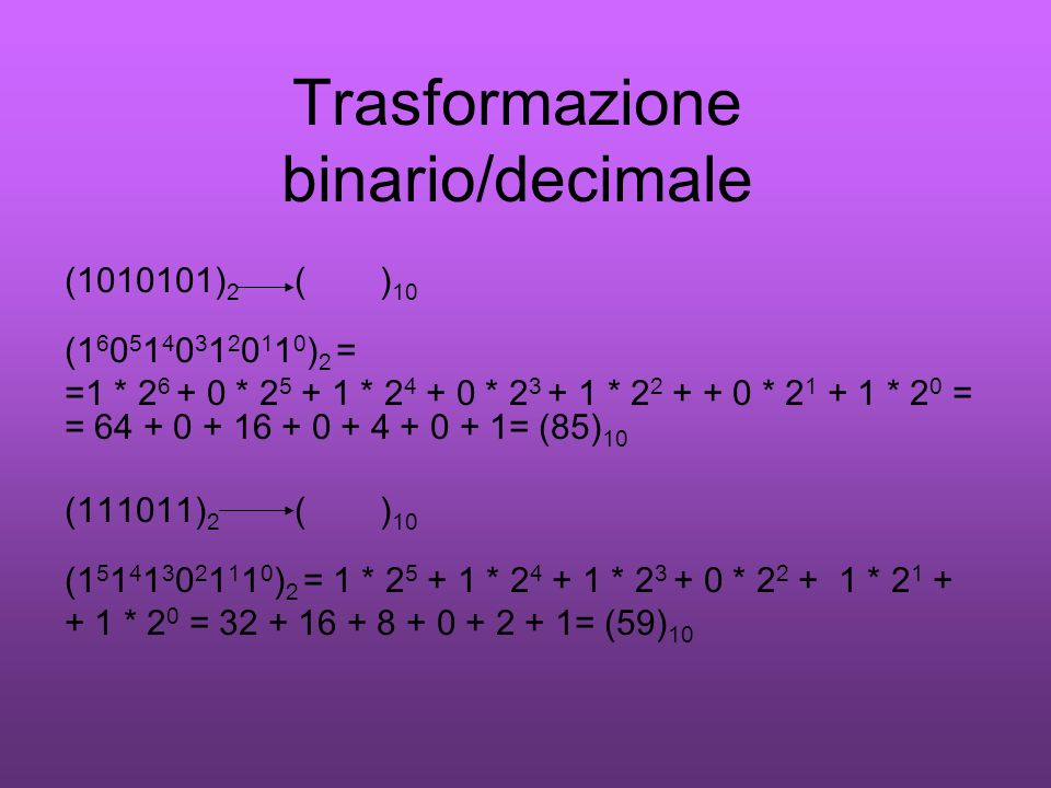 Trasformazione binario/decimale