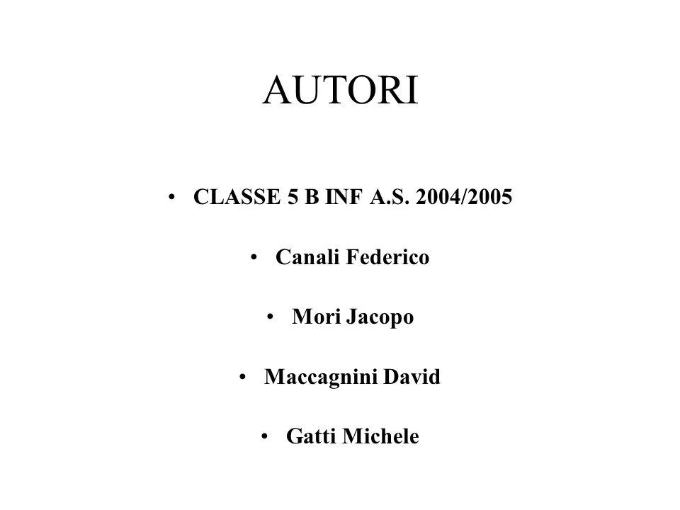 AUTORI CLASSE 5 B INF A.S. 2004/2005 Canali Federico Mori Jacopo