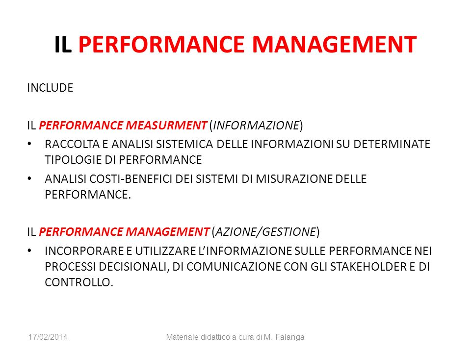 IL PERFORMANCE MANAGEMENT