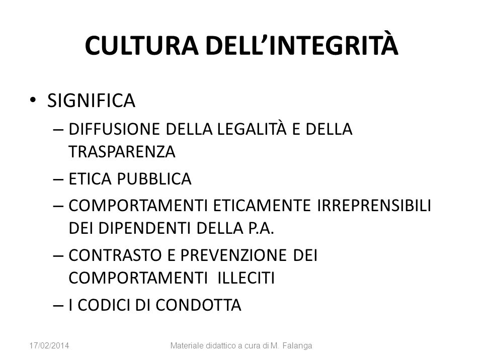CULTURA DELL'INTEGRITÀ