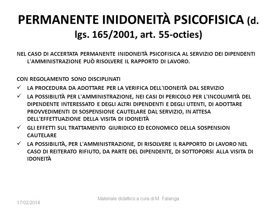 PERMANENTE INIDONEITÀ PSICOFISICA (d. lgs. 165/2001, art. 55-octies)