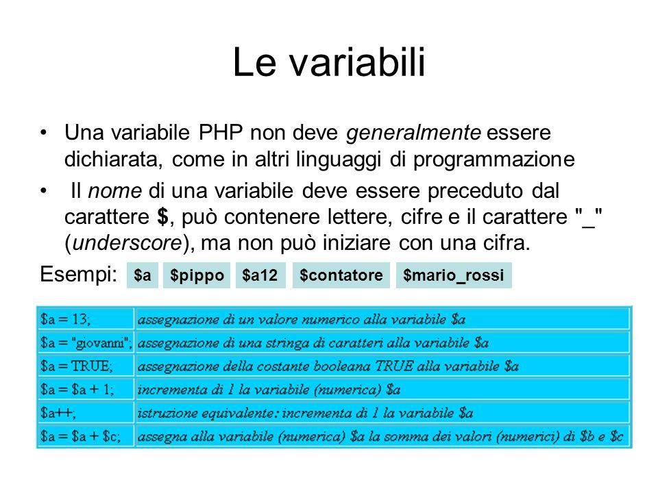 Le variabili Una variabile PHP non deve generalmente essere dichiarata, come in altri linguaggi di programmazione.