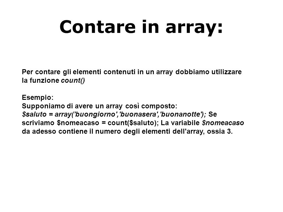 Contare in array: