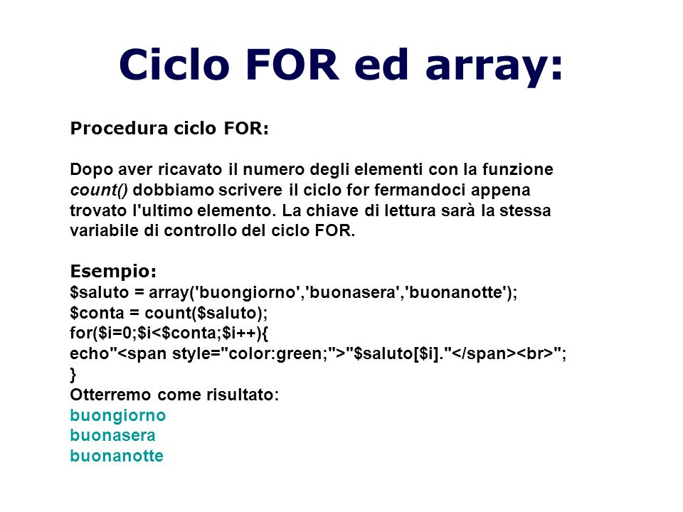 Ciclo FOR ed array: Procedura ciclo FOR: