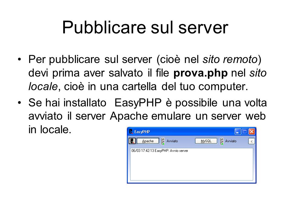 Pubblicare sul server