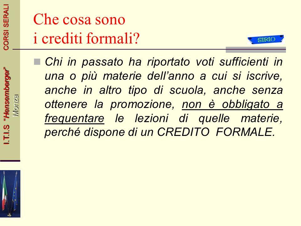 Che cosa sono i crediti formali