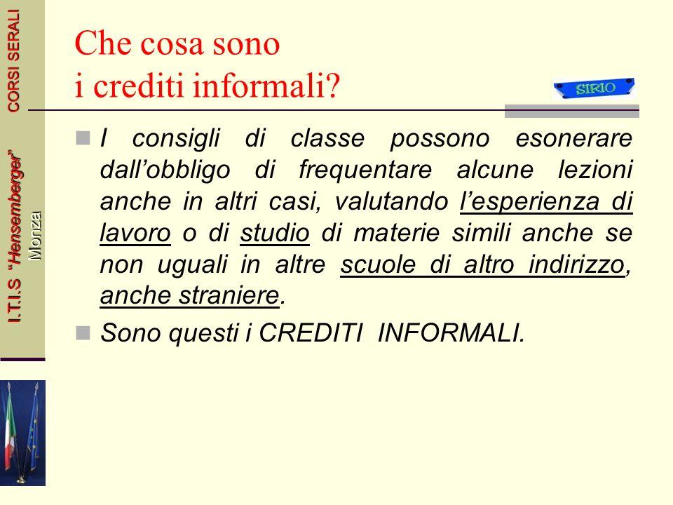 Che cosa sono i crediti informali
