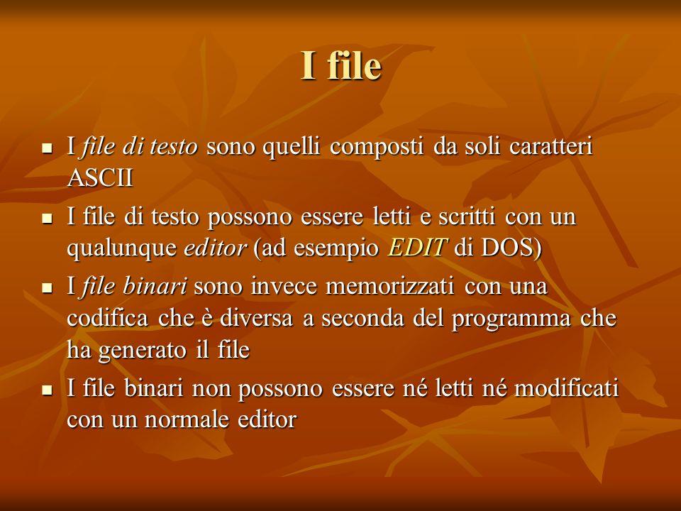 I file I file di testo sono quelli composti da soli caratteri ASCII