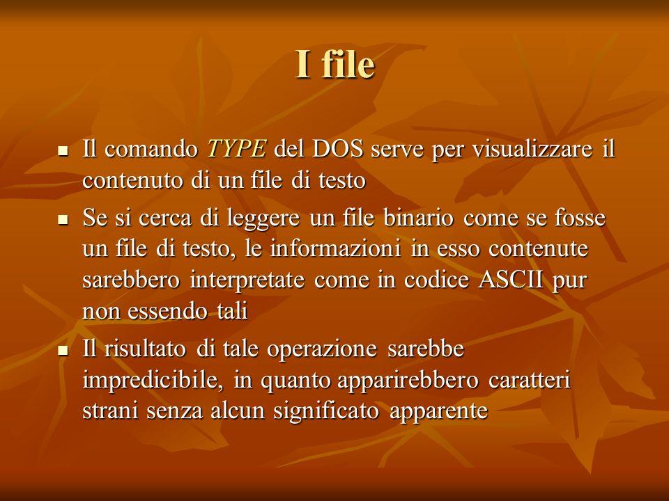 I fileIl comando TYPE del DOS serve per visualizzare il contenuto di un file di testo.
