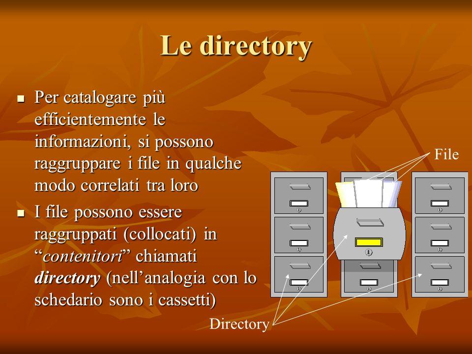 Le directoryPer catalogare più efficientemente le informazioni, si possono raggruppare i file in qualche modo correlati tra loro.