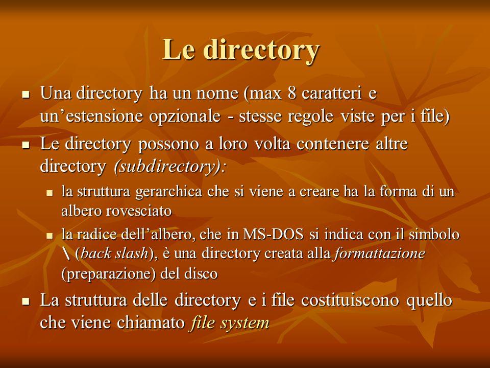 Le directory Una directory ha un nome (max 8 caratteri e un'estensione opzionale - stesse regole viste per i file)