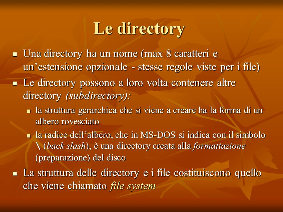 Le directoryUna directory ha un nome (max 8 caratteri e un'estensione opzionale - stesse regole viste per i file)