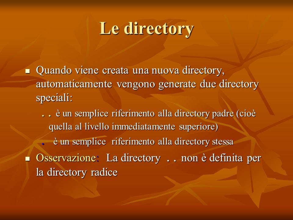 Le directoryQuando viene creata una nuova directory, automaticamente vengono generate due directory speciali: