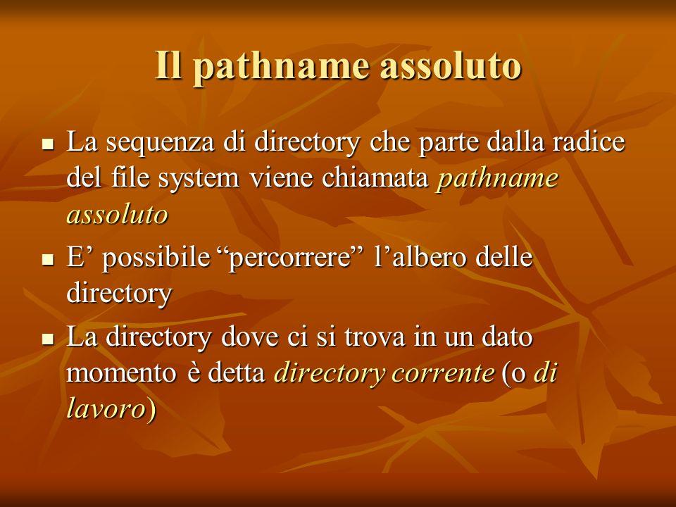 Il pathname assoluto La sequenza di directory che parte dalla radice del file system viene chiamata pathname assoluto.