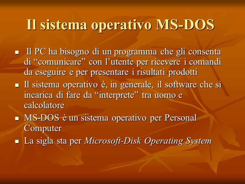 Il sistema operativo MS-DOS