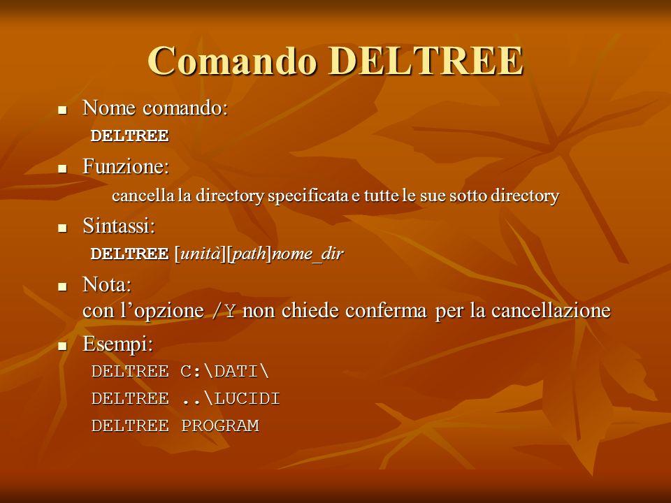 Comando DELTREE Nome comando: Funzione: Sintassi: