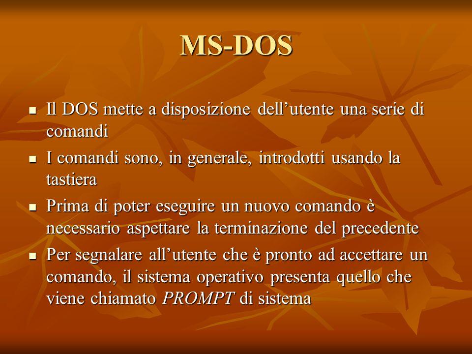 MS-DOS Il DOS mette a disposizione dell'utente una serie di comandi