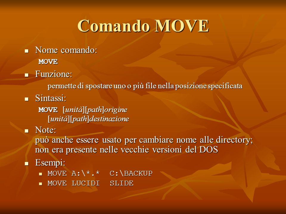 Comando MOVE Nome comando: Funzione: Sintassi: